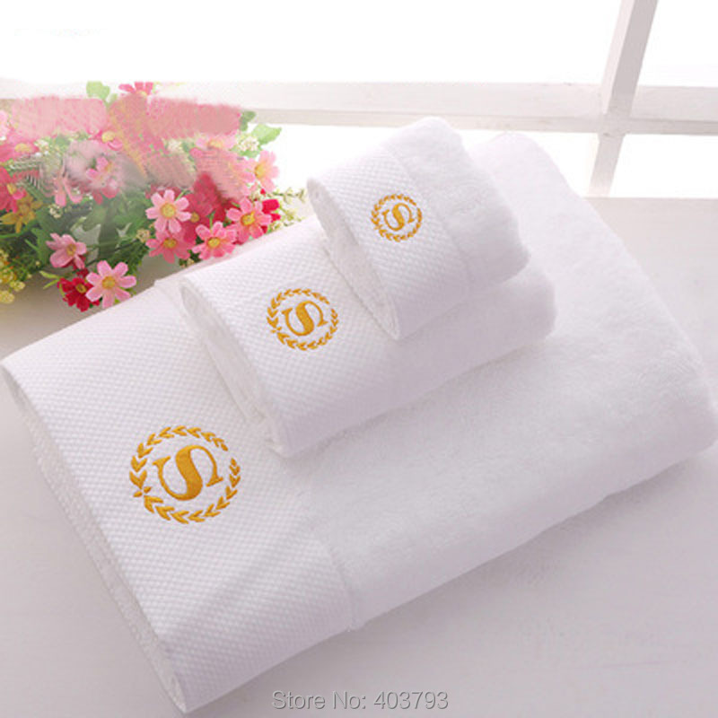 100% Cotton Towel Set Five Star Top Quality 16S Spiral Satin Embroidered Towel for Body/Face/Hand Bathroom Hotel Towels