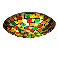 traditional ceiling lights Tiffany Style Stained Glass ceiling lamp in Floral Pattern Flush Mount Lights in Round ceiling Lamps