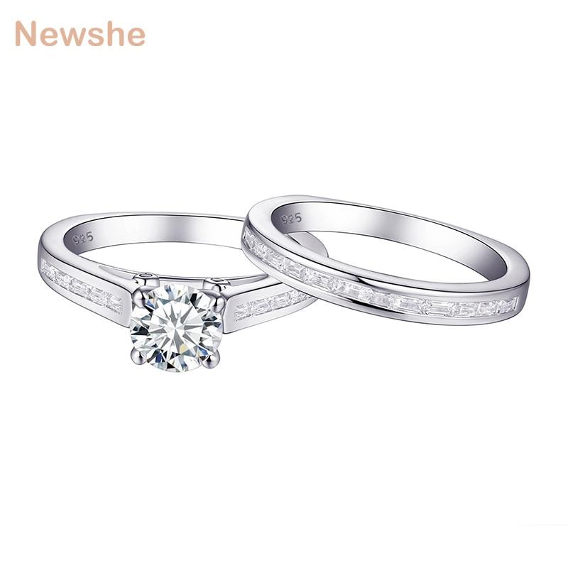 Newshe 1.7Ct rond blanc AAA CZ véritable 925 en argent Sterling bague de fiançailles de mariage ensemble de mariée bijoux à la mode pour les femmes 1R0022