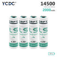 YCDC High quality 4pcs AA 14500 3.6V Lithium Battery For Gas Meter Alarm LS-14500 ER14505 Batteries