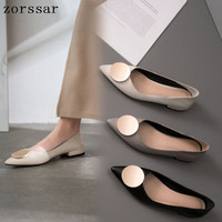 2019 New women ballet flats shoes Comfortable Women Flats Pointed toe shoes soft Cowhide Fashion Casual Slip On Women Loafers