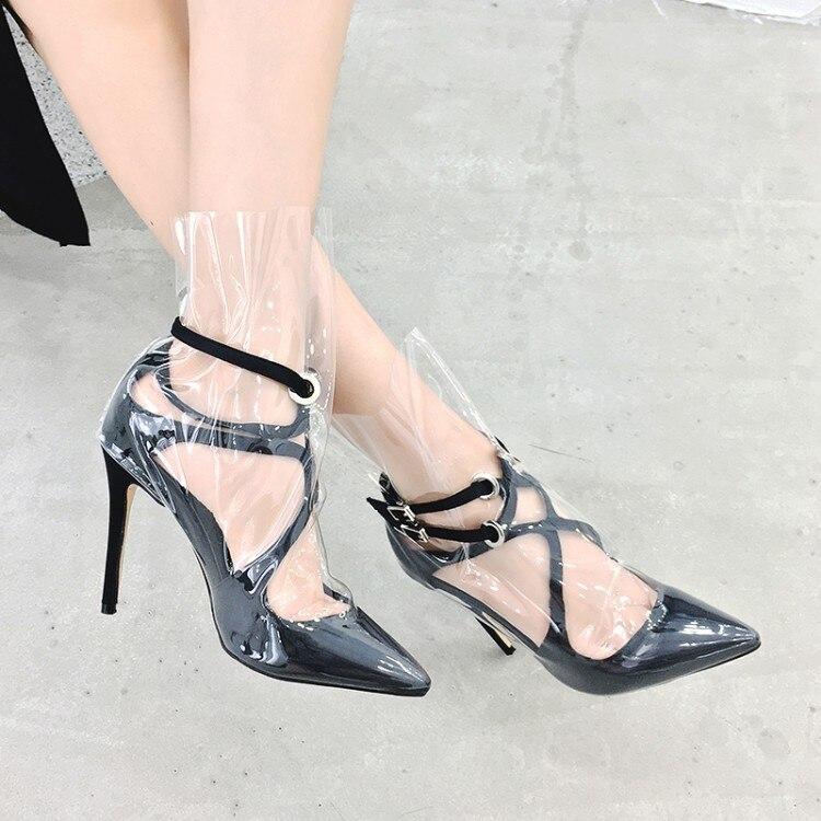 As Date Mode Picture Picture Design Bout Beertola Transparent Strap Pvc De Pointu as Voir Dame Boucle Chaussures Femme Sandales Zqnn1Sdz