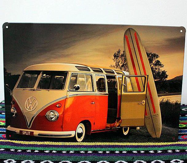Surf Signs Decor Volkswagen Surfing Bus Theme Retro Poster For Bar Pub Iron 88