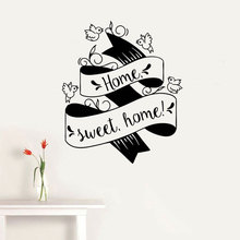 Home Sweet Quote Wall Sticker Vinyl House Decor Interior Room Decal Banner Flying Birds  Wallpaper Removable Mural 3435
