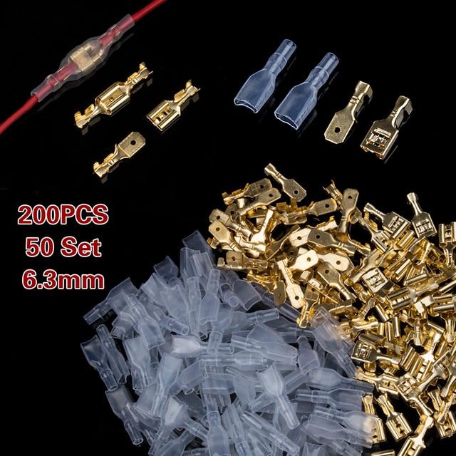 200 pièces 2.8mm 4.8mm 6.3mm femelle bêche sertissage bornes électrique isolant manchon fil enroulement sertissage connecteur ensemble