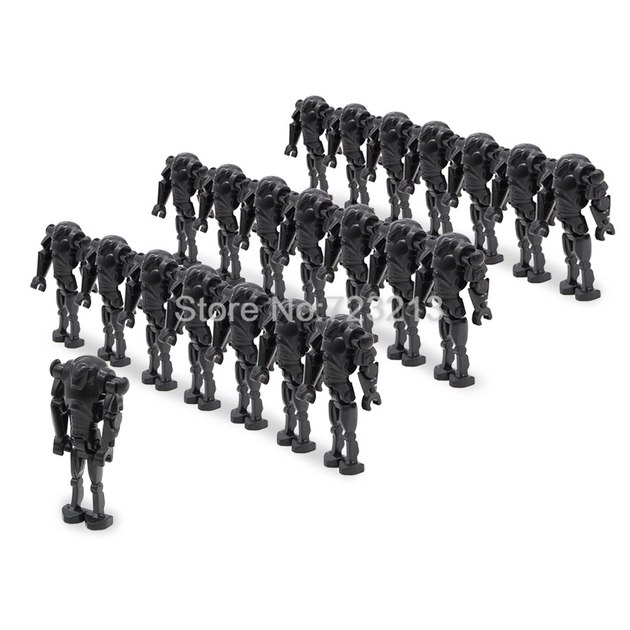 200pcs lot Wholesale Starwars Black Super Battle Droid Figure Model Set Building Blocks kits Brick Education