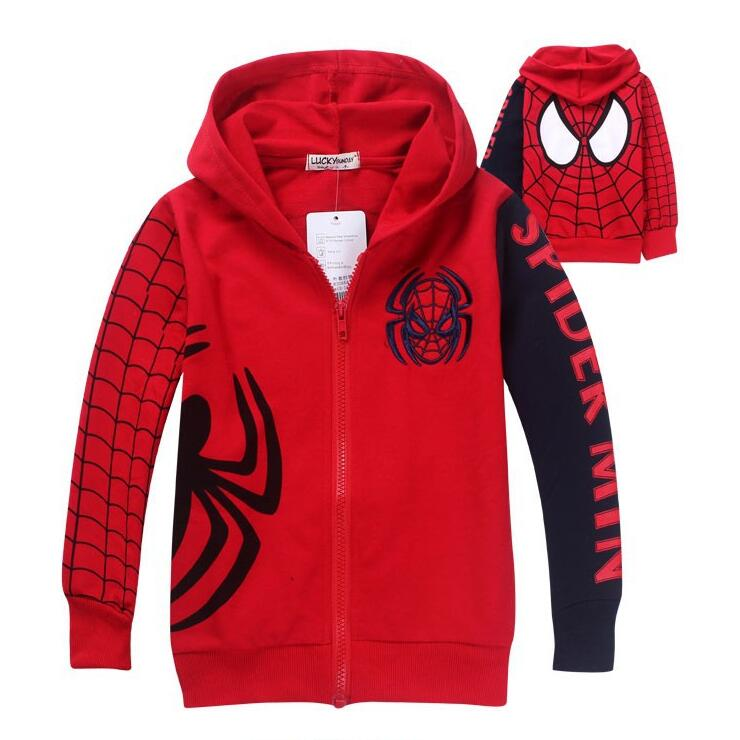 New Boy's Spiderman Coat Kids Cotton Autumn And Spring Jacket Chirdren Character Lovely Hoodies Outerwear Boys Clothes