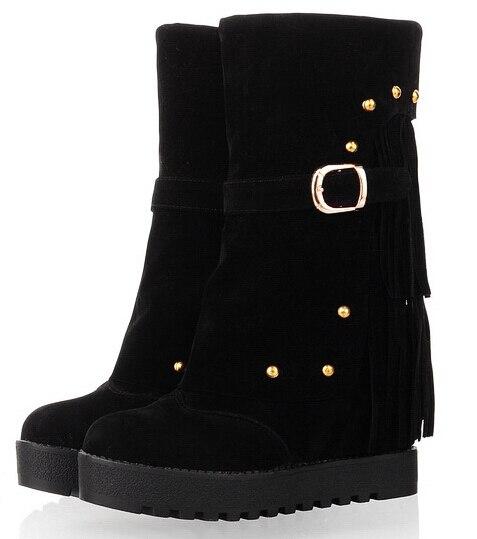 Autumn Winter Women Flats Chunky Heel Buckle Tassel Height Increase Elevator Round Toe Fashion Half Boots Size 34-39 SXQ0818
