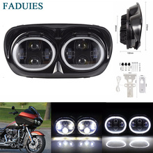 FADUIES 80W LED Projector Road Glide Headlights Assembly Angel Eyes Halo DRL Dual headlamp For Harley Road Glide head lamp