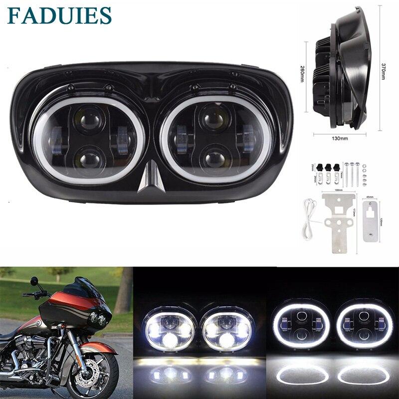Faduies 80 Вт светодиодный проектор дорога Glide Фары для автомобиля сборки Ангельские глазки Halo DRL двойной налобный фонарь для harley роуд Glide фара