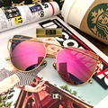 2016 Изысканный Двухэтажные Металлический Каркас Солнцезащитные Очки женщины марка дизайнер Зеленый Нефрит Носа Cat Eye Женщины Вс Стекла UV400