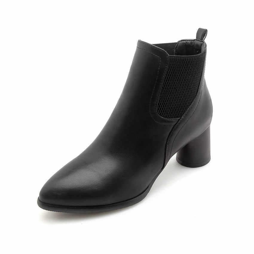 QUTAA 2019 Kadın yarım çizmeler Kare Yüksek Topuk Pu Deri Kış Ayakkabı Platformu Slip Elastik Bant üzerinde Kadın Ayakkabı Büyük Boy 34-43