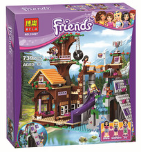 New 726Pcs Friends Adventure Camp Tree House Model Building Kits Minifigures Blocks Bricks Girl Toy Compatible Legoe