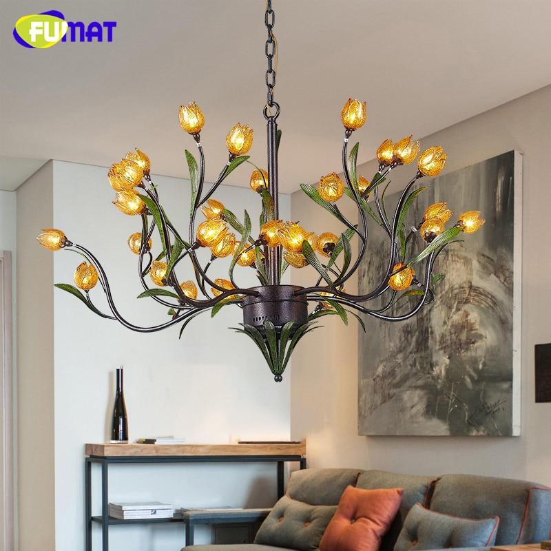 FUMAT American Pendant Light Artistic Lobby Art Living Room Dining Room Lightings LED Brief European Glass Flower Pendant Lamps