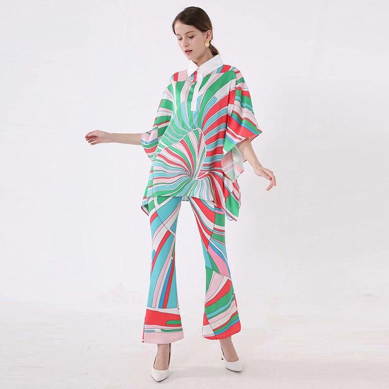 Haute qualité date 2019 créateur de mode piste costume ensemble femmes à manches courtes Blouse chemise large jambe pantalon ensemble