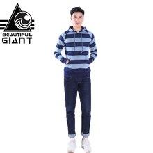 ФОТО beautiful giant men's casual striped hoodies slim vintage pocket cotton draw cord sweatershirt
