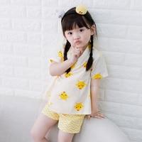 2017 autumn children wear kimono pajamas baby girls japanese home furnishing suit kids floral nine sleeves clothing sets