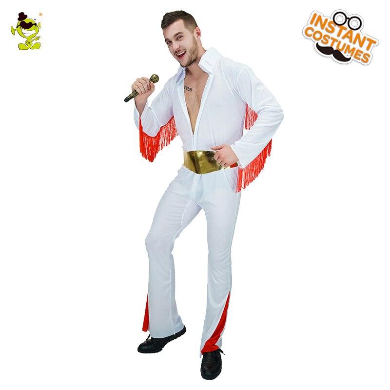 Mens 1950 60s 70s King Of Rock N Roll White Jumpsuit Costume Fancy Dress  Presley 551da15b87e5