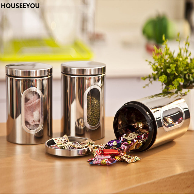 Stainless Steel Food Storage Bottles Jars Glass Window Kitchen Candy