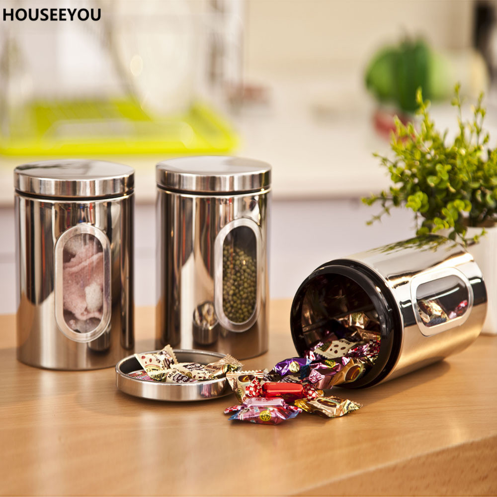 popular glass containers kitchen buy cheap glass containers stainless steel food storage bottles jars glass window kitchen candy tea storage containers home storage