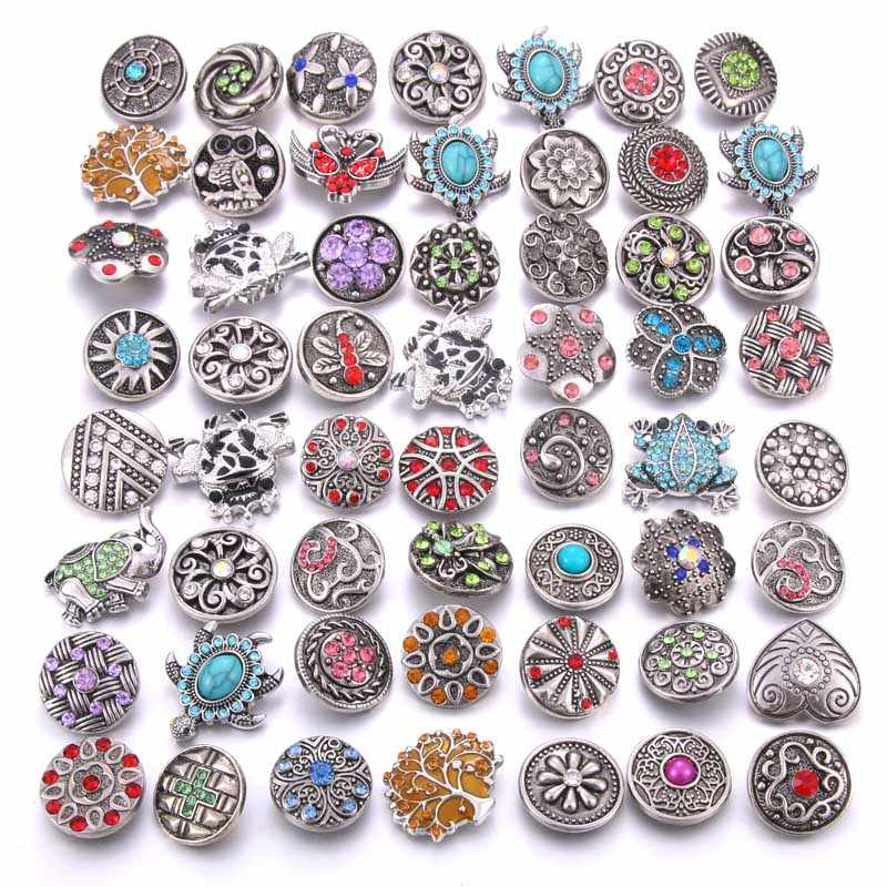 Wholesale 10pcs/lot Colorful Mix Random 12mm 18mm Snap Jewelry Rhinestone Snap Button for Snap Bracelets Necklaces Jewelry