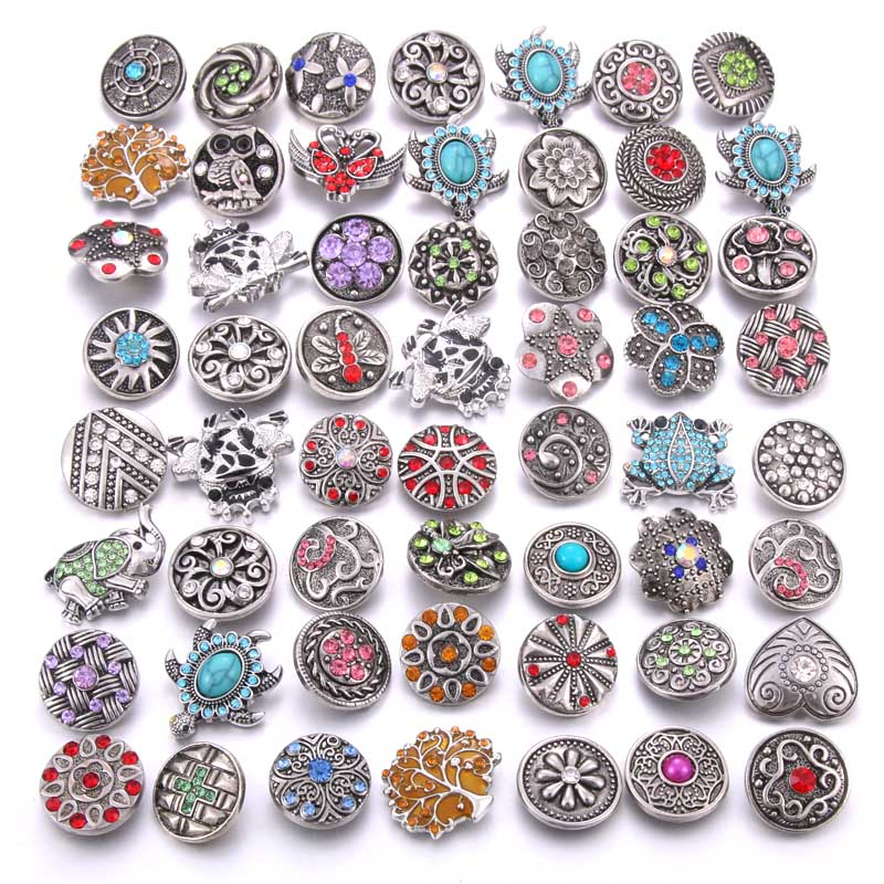Wholesale 10pcs/lot Colorful Mix Random 12mm 18mm Snap Jewelry Rhinestone Snap Button for Snap Bracelets Necklaces Jewelry image