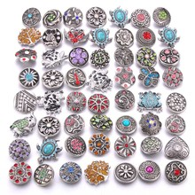 цены Wholesale 10pcs/lot Colorful Mix Random 12mm 18mm Snap Jewelry Rhinestone Snap Button for Snap Bracelets Necklaces Jewelry