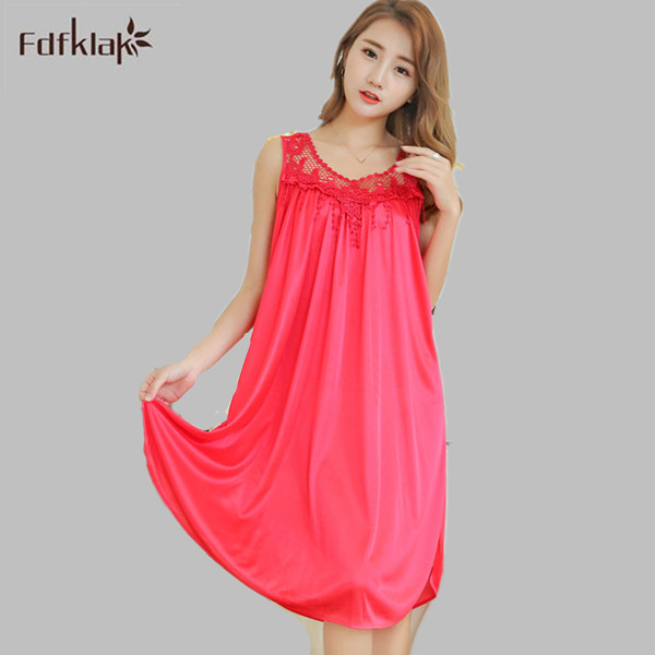 Fdfklak 7 Styles Summer Sexy O-Neck Women Nightwear Silk Nightgowns Girls Sleepwear Casual Robe Night Dress Home Clothing E0887