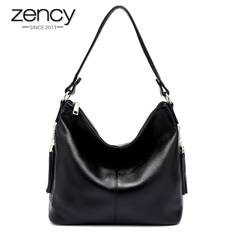 Hot Sale Zency Real Cowhide 100% Genuine leather Women Shoulder Bag Tassel High Quality Hobos Fashion Elegant Ladies Messenger yuanyu 2018 new hot free shipping real python leather women clutch women hand caught bag women bag long snake women day clutches