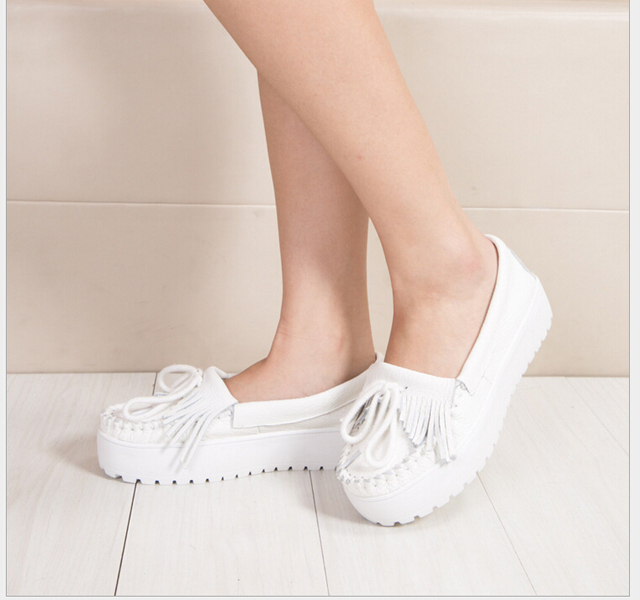 Women White genuine leather Flats Women Platform Cow Leather  Nurse Shoes Female Slip-on Loafers Size 34-40 Women Flats
