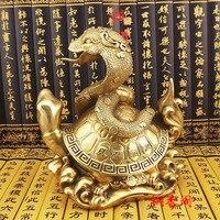 Бесплатная доставка старинные бронзовые arts & Crafts украшения дома разрушительного медь площади Чистая медь Дракон Черепаха