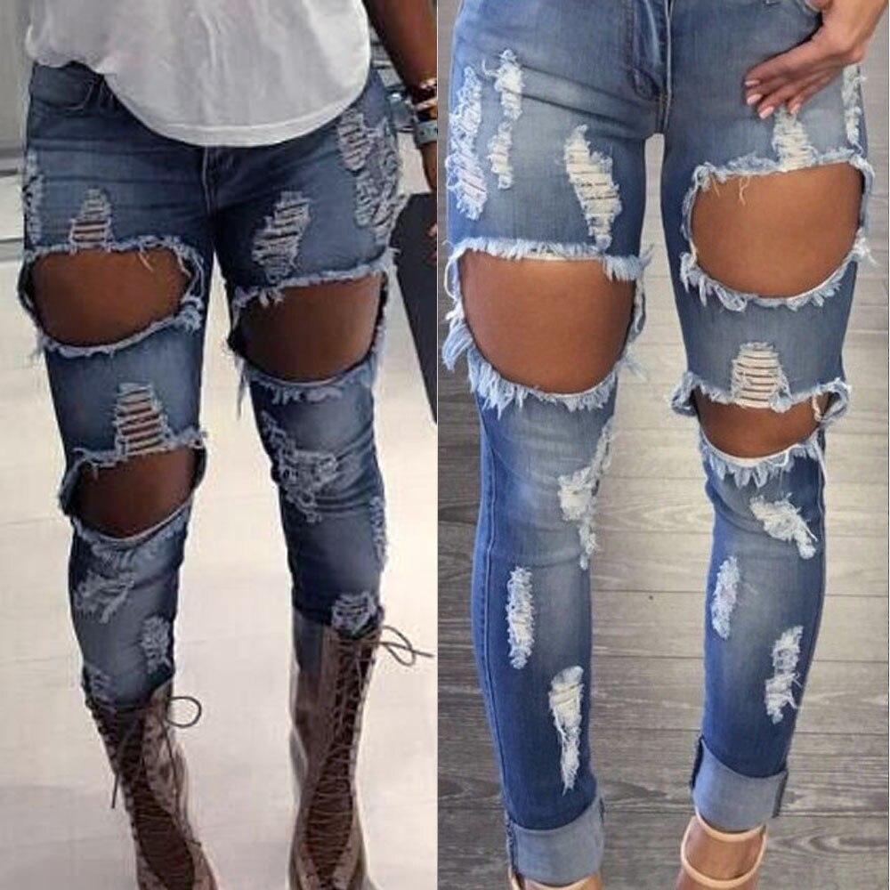 Avere Una Mente Inquisitrice 2019 Estate Delle Donne Skinny Sbiadito Strappato Casual Slim Fit Denim Fresco Cotone Dei Jeans Skinny Sbiadito Strappato Casual Jeans Slim Hx0507 Aspetto Estetico