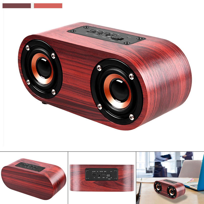 Q8 6W Wooden Double Horn 4.2 Bluetooth Wireless Speaker Loudspeaker Support AUX Cable and TF Card for Mobile Phone Tablet PC MP3