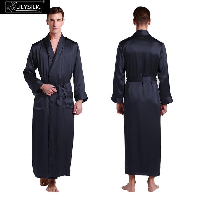 10873e5ba5 Lilysilk Silk Robe MAN Pajamas 22 Momme Navy Blue Long Dressing Gown Winter  Luxury Bath Robes