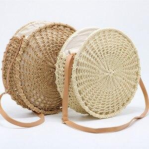 Image 3 - Sac de paille rond ajouré pour dames, sacoche tissée à la main, sacoche à bandoulière