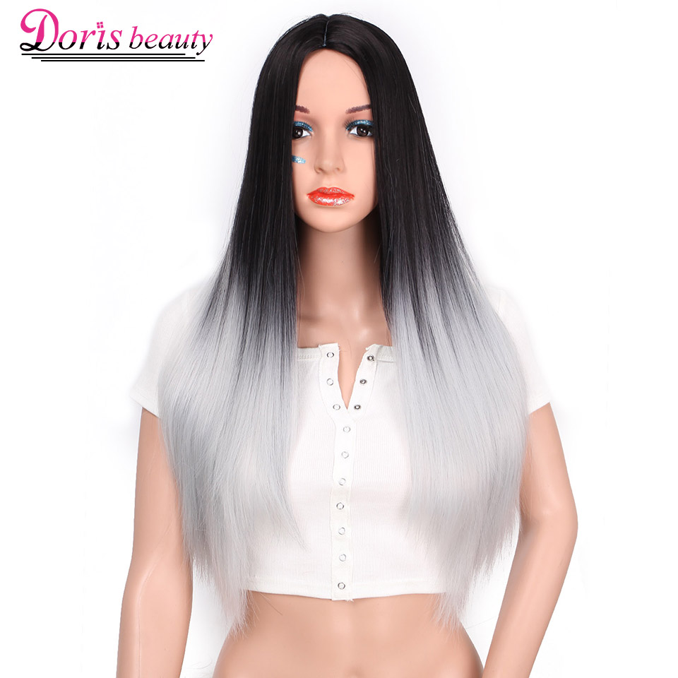 Doris beauty Synthetic Long Black Wig Long Straight Wig Blonde Ombre Wig Brown Gray Black Color Wig Heat Resistant Fiber