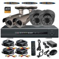 4CH 720P AHD Realtime DVR System Indoor Outdoor 1 0MP 2 8 12mm Lens OSD CCTV