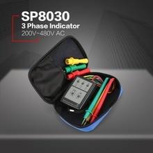 цена на SP8030 3 Phase Rotation Tester Digital Phase Indicator Detector LED Buzzer Phase Sequence Meter Voltage Tester 200V-480V NEW