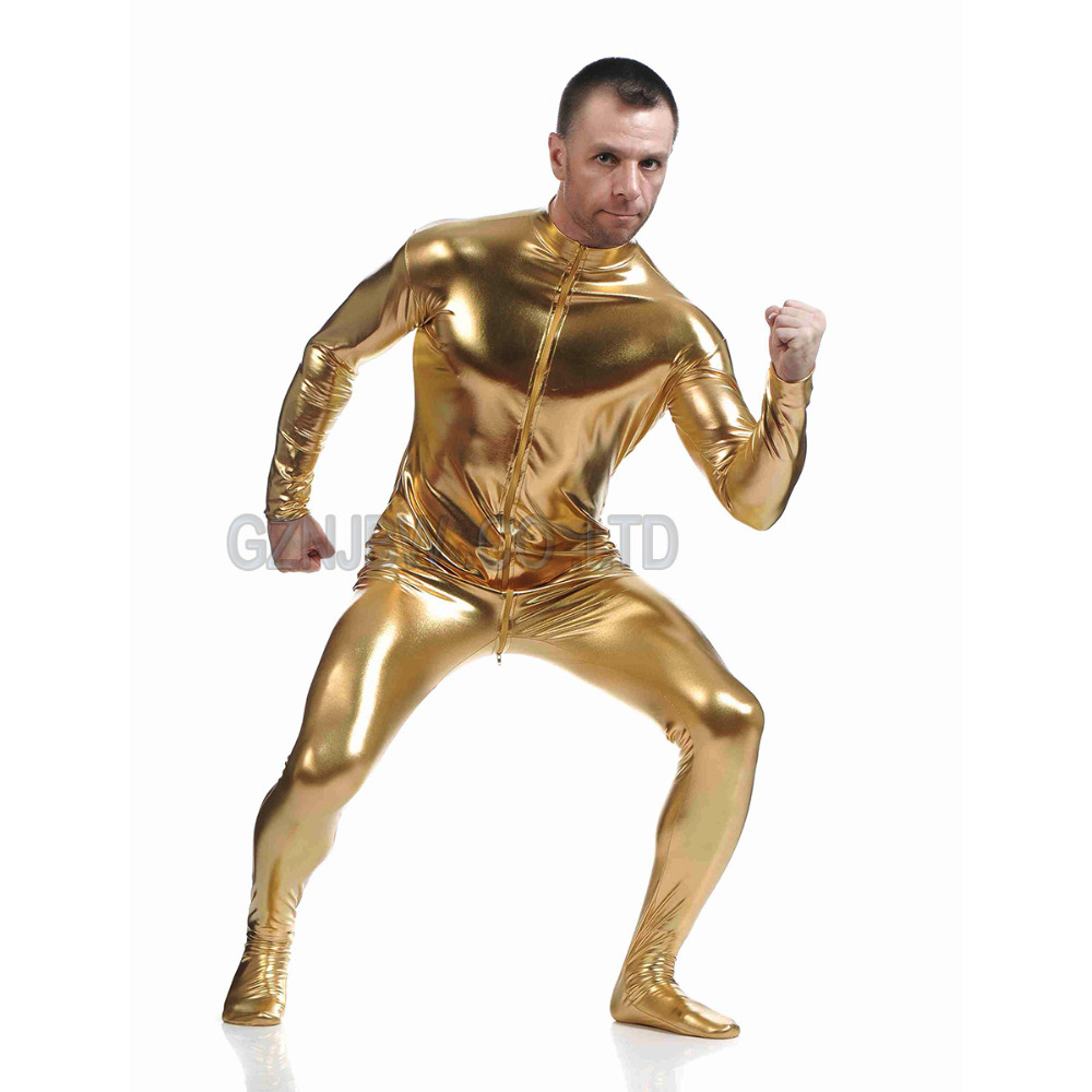 Halloween costume adult women men Golden Metallic Zentai catsuit Full body suit