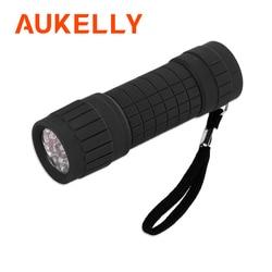 Aukelly LED Mini Taschenlampe Tragbare 9LED Leistungsstarke Wasserdichte Bunte Kunststoff Camping Lampe Notfall Taschenlampe AAA Batterie Taschenlampe