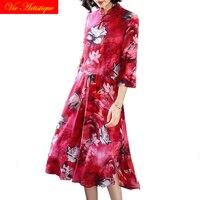 floral silk qipao summer dress robe femme ete 2018 plus size women bohemian dresses long sexy boho loose red flower casual