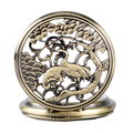 Винтаж Резьба Дважды Кран Китайский Талисман Дизайн Мужчины Карманные Часы 2016 Новый Бронзовый Женщины Механическая Рука Ветер Часы Подарок
