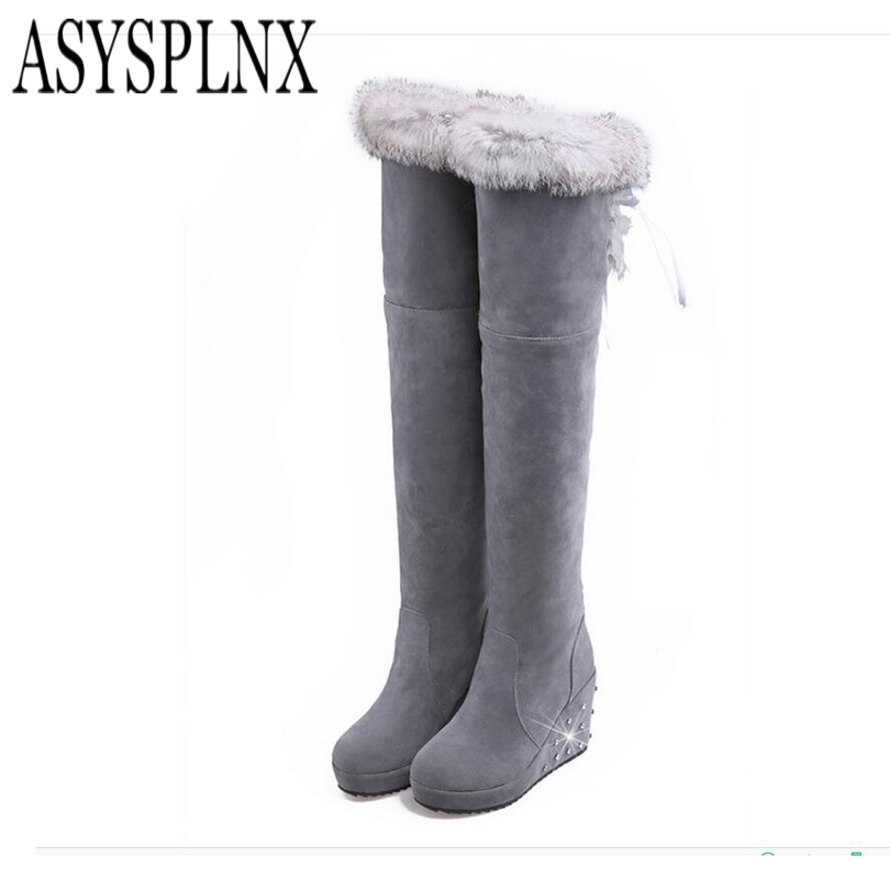 ASYSPLNX nubuck  Black women wedge over the knee thigh high boots,2016 Winter style Sexy platform natural woman ladies shoes ppnu woman winter nubuck genuine leather over the knee snow boots women fashion womens suede thigh high boots ladies shoes flats