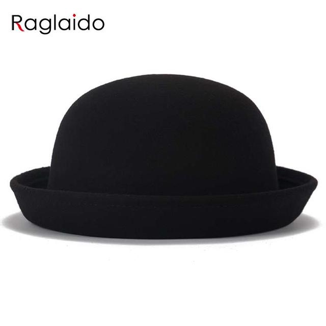 ee6f39883a7 Raglaido Round Roof Fedoras for Woman Folding Edge Cotton Hat Winter Autumn  Spring Ladies Solid Wool