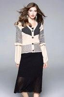 European Style Women V Neck Knitting Cardigan Black Pencil Dress Two Piece Set High Quality OL