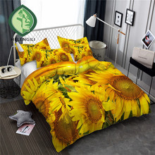 HELENGILI 3D Bedding Set Sunflower Print Duvet cover set bedclothes with pillowcase bed home Textiles #XH-44
