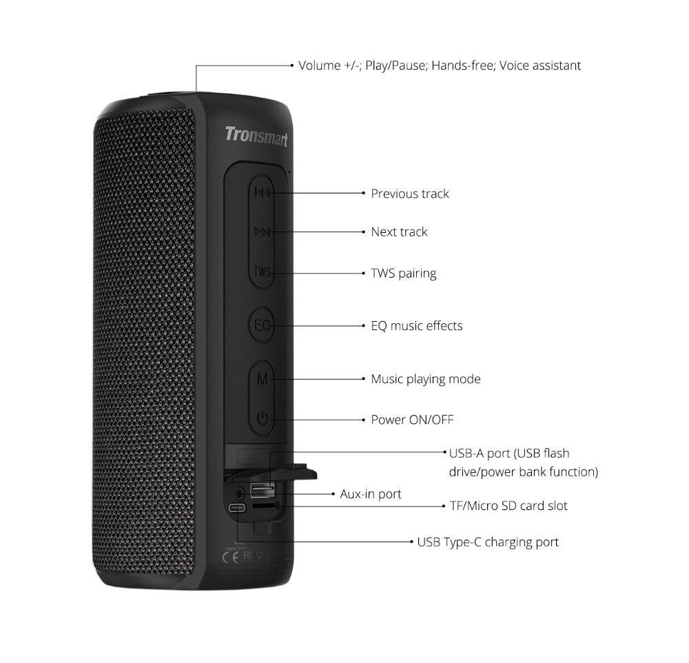 Tronsmart T6 Plus Bluetooth Speaker 40W Portable Speaker Deep Bass Soundbar with IPX6 Waterproof, Power Bank Function SoundPulse_10