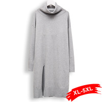 Europe Loose Plus Size Pullover Long Sweater 2Xl 5Xl Oversized Wool Cashmere Sweater Casual Side Split Pullover Knitted Mujer