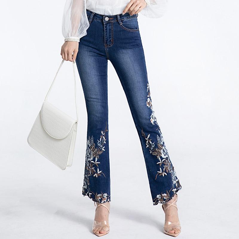 FERZIGE Brand Beading Embroidery Flare Pants Women Elastic Skinny Beautiful Clothes Ladies Jeans Lolita Blue Trousers