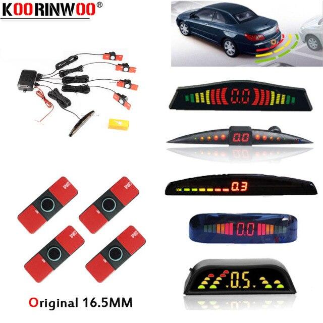 Koorinwoo Ban Đầu Xe Ô Tô Màn Hình LED Đỗ Xe Ô Tô Cảm Biến Nhiều Màu Bộ 4 Đầu Dò Lùi Xe Radar Parktronic mù Cảnh Báo Đèn Báo